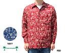 アロハシャツ 長袖 トゥーパームス ツーパームス TWO PALMS ハワイ製 レーヨン フック Hook L/S ノーマル襟 ネイビー 赤 レッド メンズ ハワイ ブランド アメカジ