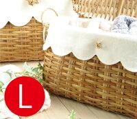 かわいいラタンのカゴバスケット【Lサイズ】【ホワイト】(籐/収納)カトリーヌドゥヌアル