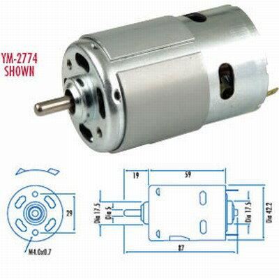 ハイパワーDCモーター 12V-4.9kg/cm-18800RPM