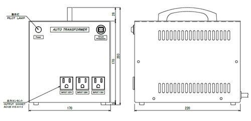 110〜125V→100V 海外用トランス(アメリカ用1.5kVA)YA-15