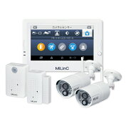 MiLinC セキュリティーシステムセット 防犯カメラ2台+モニター1台+ドアセンサー1台+人感センサー1台 LCS-101SD-301HD_1/スマホから無料アプリで簡単接続
