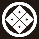 貼り紋 丸に角立四つ目(シールタイプ6枚1組) =着物 羽織 家紋 紋付=