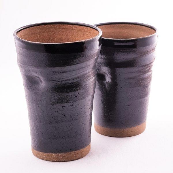 九谷焼 ペア ビアカップ・黒釉