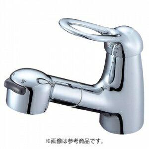三栄水栓製作所 シングルスプレー混合栓(洗髪用) 節水水栓 ホース引出し式 ホース長さ:1m ベロアメッキ仕様 Kiwitap K3773JV-MC