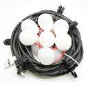 長谷川製作所 LED電球一体型提灯コード 防水仕様 屋外用 10灯 全長10m 防水プラグ・防水コネクタ付 CCLB100L10P10