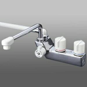 KVK デッキ形一時止水付2ハンドルシャワー 左側シャワー 寒冷地用 固定こま仕様 300mmパイプ付 取付ピッチ85mm KF207ZR3 【良質】