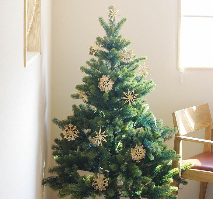 デポーセレクト【PLASTIFLOR/RS GLOBAL TRADE 150cmクリスマスツリーと金の星(大)・手編みストローオーナメント セット】◎送料無料◎