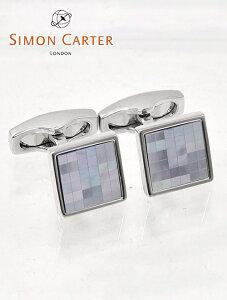 サイモンカーター  SIMON CARTER ライトブルー チェッカー柄 MOPパールタイル スクエア型カフリンクス Chequer Blue Mother Of Pearl Cufflinks メンズアクセサリー