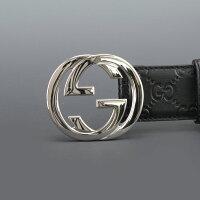 グッチ、GUCCI[マットブラック]ピンバックルで簡単に装着。インターロッキングGとグッチシマコンビのWアイコン・ラバーコートレザーベルト、メンズ)n