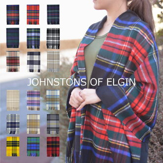 Johnstons 的埃爾金羊絨圍巾偷走了圍巾大厚 190 釐米 x 72 釐米類型 Johnstons (圍巾圍巾毯) 格子圍巾羊絨格子披肩