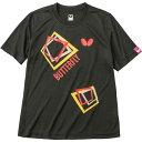 バタフライ(Butterfly) 男女兼用Tシャツ キュービック・Tシャツ 45070 ブラック O[代引不可]