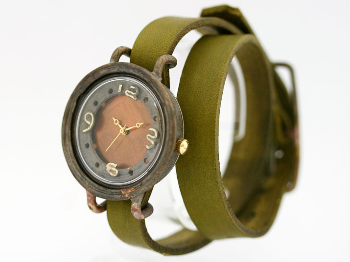 【送料無料】en  二重丸 (Orenge 二重巻 )手作り腕時計
