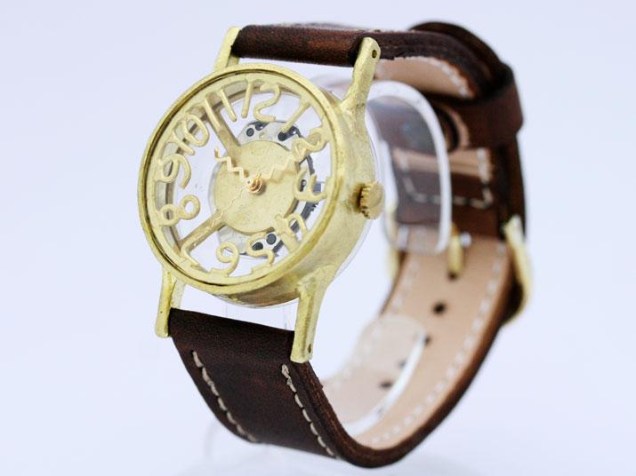 【送料無料】Ks SKELTON II (Brass)手作り腕時計 【腕時計 シンプル】
