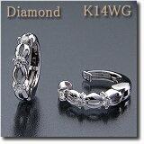【ご予約販売商品】  (代金引換不可)イヤリング ピアリング ダイヤモンド 0.12ct K14WG (ホワイトゴールド) 網目模様とダイヤの品よいデザイン!【smtb-tk】【】