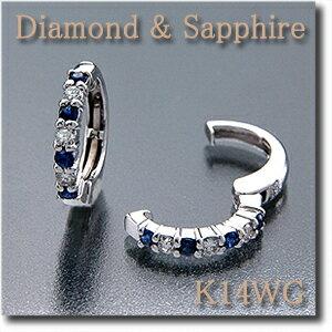 イヤリング ピアリング ダイヤモンド サファイア ホワイト ゴールド シンプル デザイン