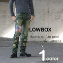 LOWBOX ダメージ加工アメリカンフラッグプリントデニムパンツ メンズ MEN'S ジーンズ ジーパン denimpants カットオフ オーバーダイのカラー コンチョ USA 綿 コットン
