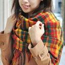 大判ストール <ストラサーン> 厚手 ラムズウール100% タータン 英国王室御愛用 Lochcarron of scotland ロキャロン タータンチェック ストール ショール マフラー エリザベス女王生誕90周年 秋冬 防寒 かわいい 送料無料