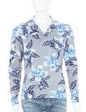 ハイドロゲン HYDROGEN ハイドロゲン ポロシャツ ハイドロゲン 長袖 ハイドロゲン メンズ 160011 BLUE FLOWERS GREY ハイドロゲン HYDROGEN ハイドロゲン 3000円OFF クーポンプレゼント