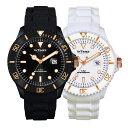 INTIMES インタイムス 44mm シリコン ブラック&ローズゴールド/ホワイト&ローズゴールド ダイバー メンズ レディース 腕時計 IT057G
