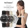 INTIMES インタイムス 36mm かわいい レザーベルト キラキラ輝くスワロフスキー レディース アナログ 腕時計 IT1052L