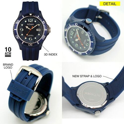 【シチズン日本製ムーブ搭載】INTIMESインタイムスNAUTIC48mmXLサイズシリコンバンドダイバーメンズ/レディース腕時計【XL】