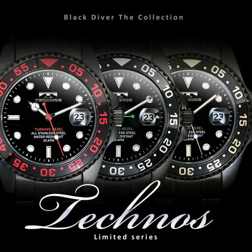 TECHNOSテクノスブラック・ダイバー限定モデルメンズ腕時計T2171