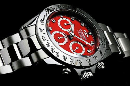 TECHNOSテクノスクロノグラフジルコニア・リミテッド限定モデルメンズ腕時計T4102レッド【バンド調整工具ブレゼント】