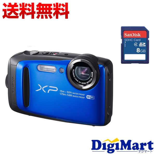 【送料無料】富士フイルム FUJIFILM FinePix XP90 [ブルー] デジタルカメラ&8GB SDカードのセット【新品・国内正規品】