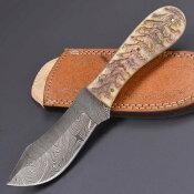 スキナー ダマスカス ラムホーン DM-1121 フルタング 皮剥ぎナイフ ハンティングナイフ ハンターナイフ 狩猟ナイフ アウトドアナイフ スキニングナイフ