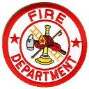 ワッペン FIRE DEPT レッド ホワイト 丸型 消防署 | ミリタリーミリタリーパッチ アップリケ 記章 徽章 襟章 肩章 胸章 階級章