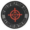 ミリタリーパッチ スナイパー 丸型 アイロンシート付 75mm ミリタリーワッペン アップリケ ブラック SNIPER 記章 徽章 襟章 肩章 胸章 階級章
