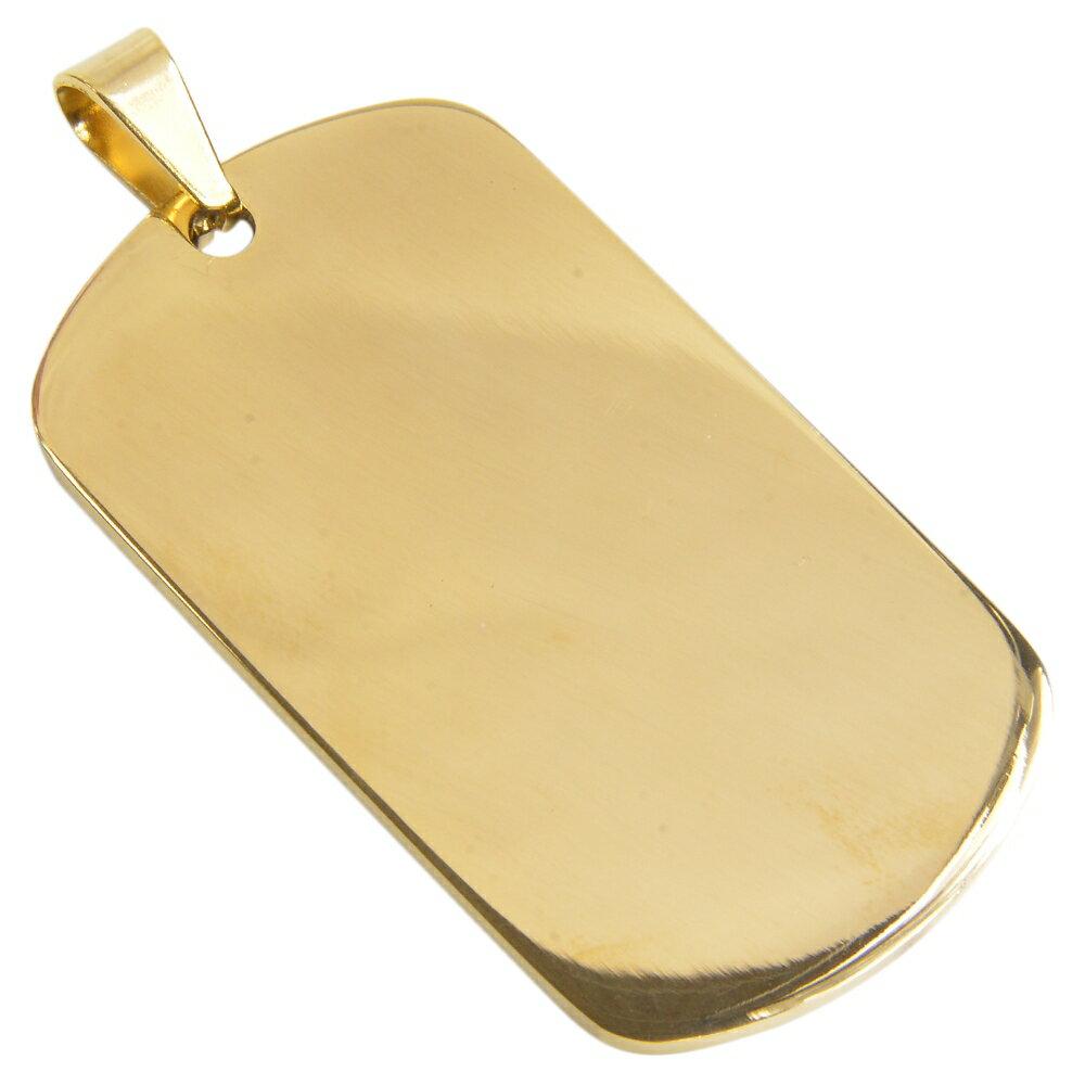ステンレス製 ドッグタグプレート 5×2.7cm カラー [ ゴールド / ツヤあり ] ドックタグ 認識票 DOG TAG ペンダントトップ つやあり 艶あり つやなし メンズアクセサリー