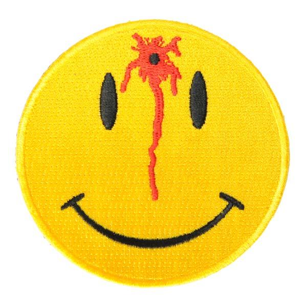 ミリタリーパッチ スマイルマーク ショット 丸型 ミリタリーワッペン アップリケ 記章 徽章 襟章 肩章 胸章 階級章