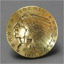 コインコンチョ インディアン SS レプリカ ゴールド [ 通常ネジ ] ファイブダラー | ハンドメイド 長財布 ロングウォレット 革製品 レザークラフト 材料 資材 パーツ
