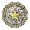 ベリーコンチョ 星 ウェスタン 合金 [ ゴールド/31mm(1-1/4インチ) / ドットボタン用ネジ ] ハンドメイド 長財布 ロングウォレット 革製品 レザークラフト 材料 資材 パーツ