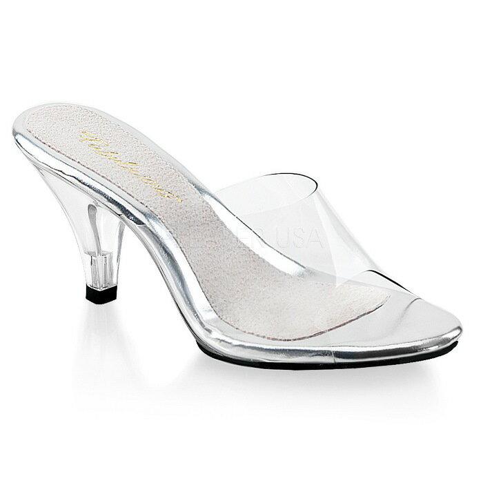 取寄せ靴 送料無料 クリア ミュールサンダル 7.5cmコーンヒール クリア Pleaser プリーザー 大きいサイズあり イベント 仮装 女装 男装 パーティ- LGBTファッション