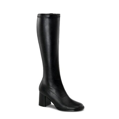 取寄せ靴 送料無料 コスプレ ロングブーツ サイドジッパー 8cm チャンキーヒール 黒 ブラック つや消し FUNTAZMA ファンタズマ 大きいサイズあり ダンス 仮装 女装 男装 パーティ- LGBTファッション