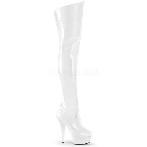 取寄せ靴 送料無料 コスプレ系 厚底ニーハイサイハイブーツ サイドジッパー付き 15cmピンヒール 白ホワイトエナメル Pleaserプリーザー 大きいサイズあり イベント 仮装 女装 男装 パーティ- LGBTファッション