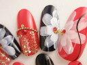 【成人式ネイルチップ】【成人式】和風赤黒フラワーペイントアートネイルチップ 和柄 着物 レッド 和装