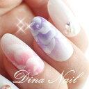 【ネイルチップ】【ショート】ピンクパープル薔薇エアーアート ブライダル ウェディング 結婚式 成人式 付け爪