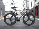 ピストバイク カスタム完成車 CARTEL BIKE カーテルバイク JAPANPRIDE 3SPOKE F&R CARBONWHEEL CUSTOM BIKE BLACK ジャパンプライド 3スポーク F&R カーボンホイール ブラック PISTBIKE