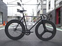 ピストバイク カスタム完成車 CARTEL BIKE カーテルバイク JAPANPRIDE BLK 3SPOKE x 88mm CARBONWHEEL CUSTOM BIKE ジャパンプライド 3スポーク 88mm カーボンホイール オレンジ PISTBIKE
