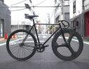 ピストバイク カスタム完成車 CARTEL BIKE カーテルバイク JAPANPRIDE BLACK 3SPOKE CARBONWHEEL CUSTOM BIKE ジャパンプライド 3SPOKE カーボンホイール カスタム ブラック PISTBIKE