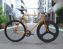 ピストバイク カスタム完成車 CARTEL BIKE カーテルバイク JAPANPRIDE ORG 3SPOKE CARBONWHEEL CUSTOM BIKE ジャパンプライド 3SPOKE カーボンホイール カスタム オレンジ PISTBIKE