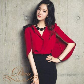 斗篷海角上衣長袖上衣襯衫雪紡衣領紅色紅色婦女 S M L XL 尺寸袖子袖子和深藍 / 米色 M L