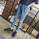 20代 30代 40代 ファッション コーディネート ブルー M L XL XXL オシャレ トレンド ダメージ加工 デニム ジーンズ アンクル丈 インポート ダメージ 膝リップ デニム メンズ デニム メンズ 送料無料キャンペーン メンズ ボトム 男