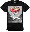 E1SYNDICATE(イーワンシジケート)BLACK CANDY LIPS ブラック キャンディー リップ ガール ブラック Tシャツ 20代 30代 ファッション ..