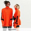asos ASOS エイソス メンズ COLLUSION Unisex オレンジ ハーネス スリーブ ディテール ふわふわ ロールネック ジャンパー 大きいサイズ インポート エクストリームスーパースキニーフィット スウェットパンツ ジーンズ ジーパン 20代 30代 40代 ファッション コーディネート