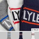 ライル&スコットボディウェアネイビーホワイトとグレーの3パックスポーツソックス 靴下 メンズ 男性 インポートブランド