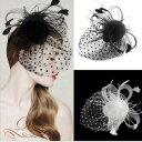 ヘッドドレス ウェディングヘッドドレス ドットベール チュール 羽 フェザー ミニ ハット帽風 ヘッドドレス ブラック ホワイト fs01gm